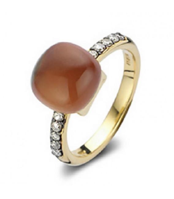 Anillo de Oro Bigli en combinación de Diamante y Gema Natural