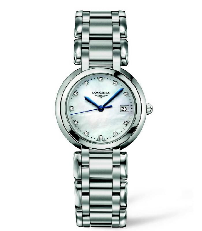 Reloj para mujer Longines Prima Luna índices diamantes.