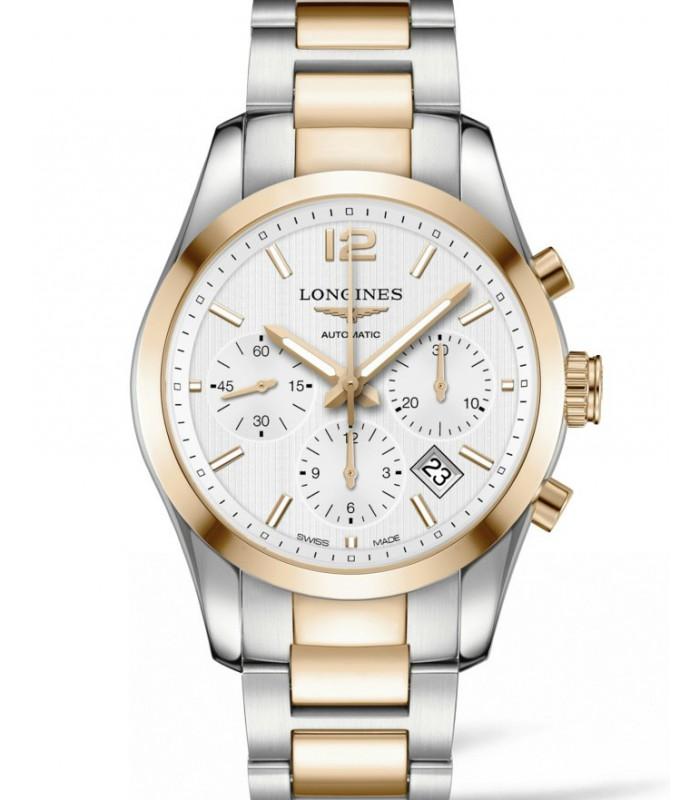 Reloj para hombre Longines Conquest Classic, Acero y Oro, Cronografo